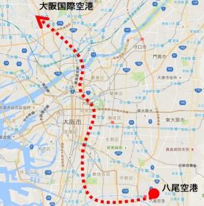 地図_飛行機_大阪